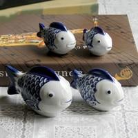 4PCS ceramic fish cute blue and white porcelain fish floating fish tank small ornaments living room decoration wf4231600