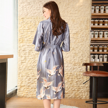 Hot Sale Black Summer Satin Kimono Bathrobe Women Bride Bridesmaid Wedding Robe Dress Gown Sexy Flower Long Sleepwear M-2XL 5
