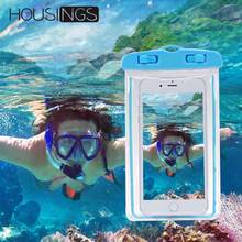 For iPhone 7 8 X Phone Bags Cases Luminous Waterproof Bag xiaomi Mi A2 Outdoor Swimming Diving Smartphone Case