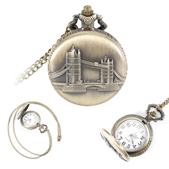 Vintage London Tower Bridge Case Pendant Pocket Watch With Necklace Chain Clock