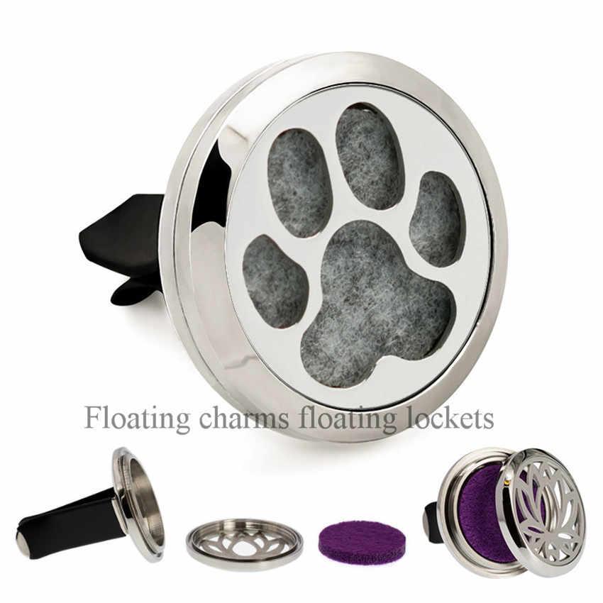 Bonitas patas de perro ambientador de coche 30mm aceite esencial relicario de aromaterapia Clip de ventilación medallón difusor para coches 10 Uds almohadillas al azar