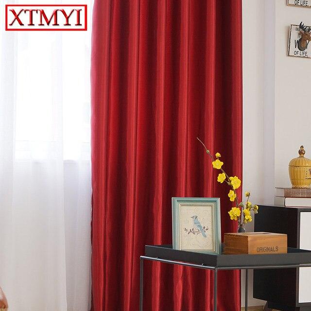 Moderno color sólido apagón Cortinas para sala gris/rojo/púrpura/De Oro  ventana Cortinas para dormitorio niños
