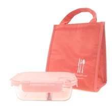 Pink Lunch Box with Bag Microwavable Glass for Office School Boxes Girls