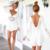 Novo Macacão Mulheres Manga Longa de Renda Branca V Neck Branco Bonito Chiffon escavar Cintura Alta Sexy Macacões Moda para Festa Na Praia