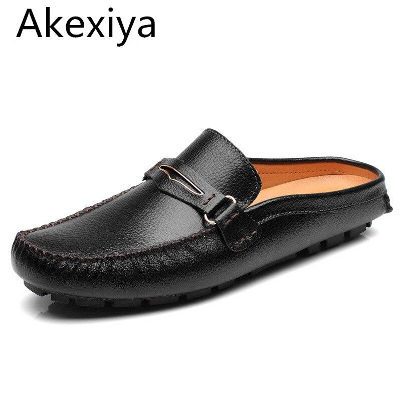 Akexiya Diseñador Negro Zapatos de la Marca de Lujo 2017 de Alta Calidad de Cuer