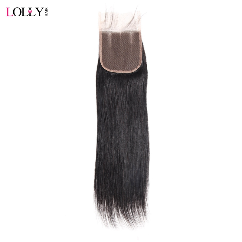 Lolly Brazilian Straight Hair Closure 130 Density Human Hair Closure 4x4 inch Remy Hair Closure with
