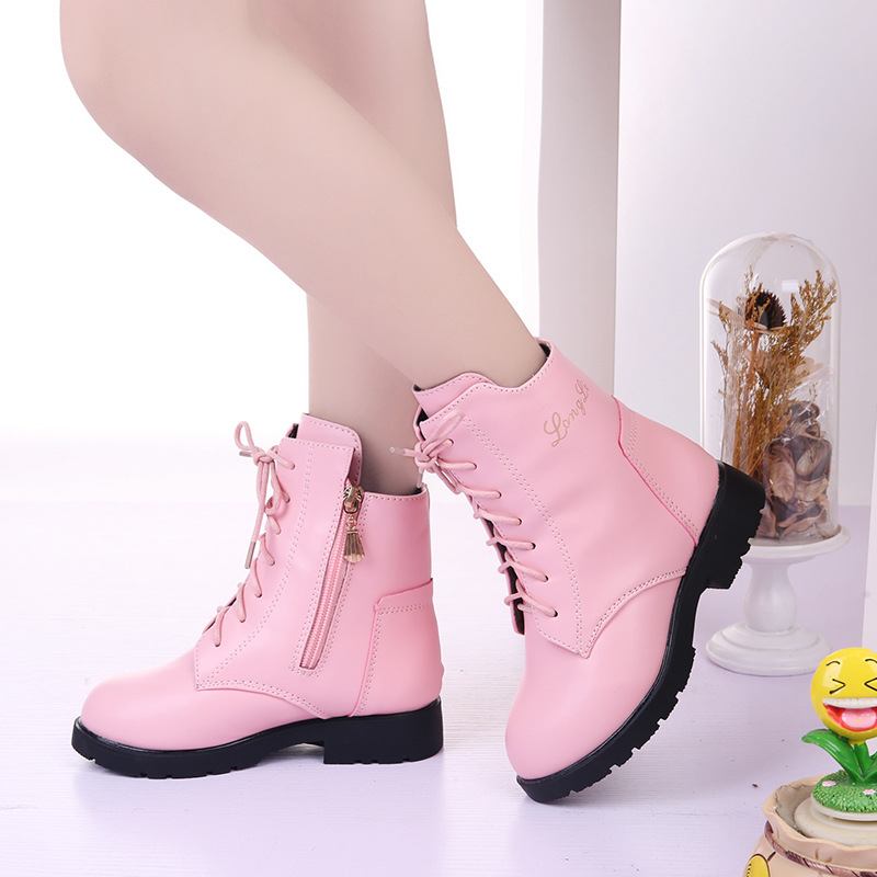 Winter Girls Boots 2018 New Fashion Children Princess Shoes Plush Mid-Calf For Big Girls Snow Boots Kids Leather Shoes Red Pink