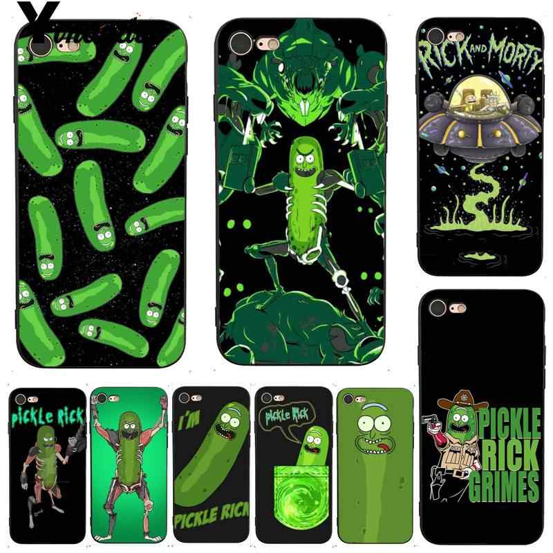 Yinuoda rick e morty pickle rick caso acessórios do telefone de luxo para o iphone x 8 7 6 s plus x xs se11 11pro 11promax
