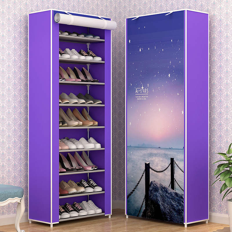 Image 3 - Large Capacity Shoes Storage Cabinet Double Rows Shoes Organizer Rack Home Furniture DIY Dust proof Shoes Shelves Space Saver-in Shoe Cabinets from Furniture