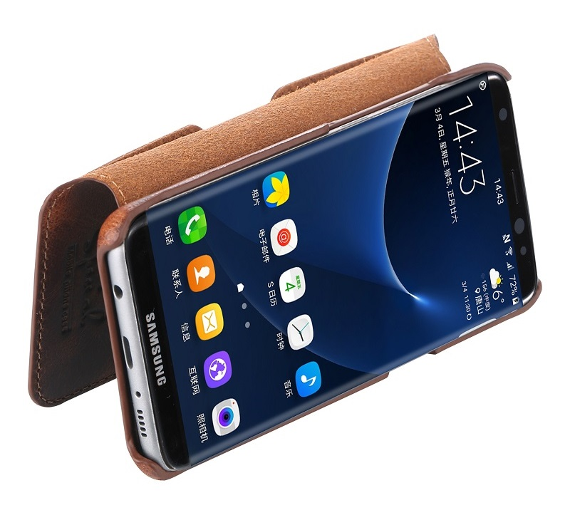 Dark brown real leather case for samsung galaxy s8 genuine leather cover CASE