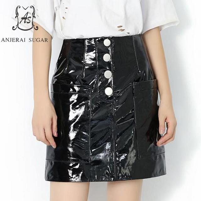e43b3f0a795f Autumn winter Genuine leather skirts women black High waist pocket Package  hip sheepskin female A line mini Patent leather skirt