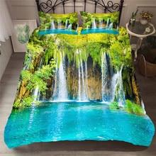 ชุดเครื่องนอน 3D พิมพ์ผ้านวมคลุมเตียงชุด Forest น้ำตกบ้านสิ่งทอสำหรับผู้ใหญ่ผ้าปูที่นอนกับปลอกหมอน # SL01