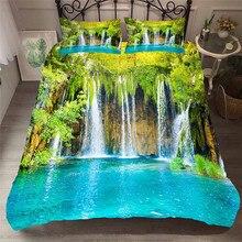 מצעי סט 3D מודפס שמיכה כיסוי מיטת סט יער מפל בית טקסטיל מצעי מבוגרים עם ציפית # SL01