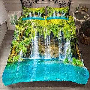 Image 1 - Zestaw pościeli 3D kołdra z nadrukiem pokrywa łóżko – zestaw las wodospad tekstylia domowe dla dorosłych pościel z poszewka na poduszkę # SL01