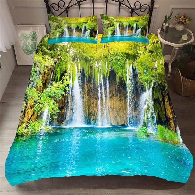 Zestaw pościeli 3D kołdra z nadrukiem pokrywa łóżko – zestaw las wodospad tekstylia domowe dla dorosłych pościel z poszewka na poduszkę # SL01