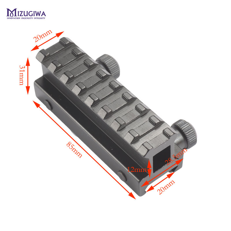 MIZUGIWA Tactical 8 Slot See-Thru Flat-Top Riser Base AR Dovetail Weaver Scope Mount Picatinny Adapter 20mm Dovetail Rail mesh see thru slip babydoll