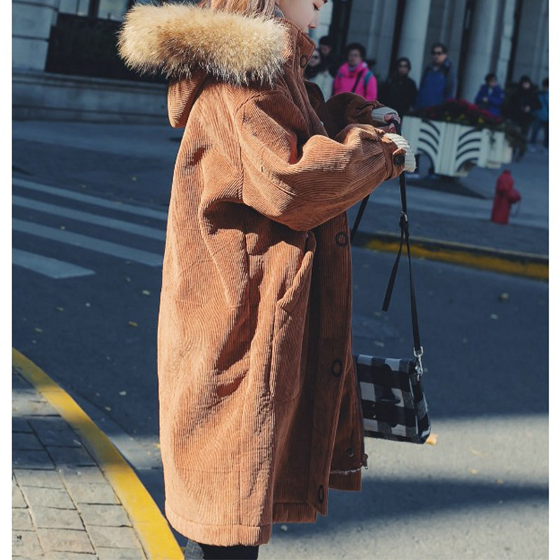 Coréenne Coton 2018 Hiver Épais X374 Nouvelle Vêtements Veste Longue Version Section Femmes D'agneau Manteau Pink Capuche Chic caramel À Velours 5vSqwwg