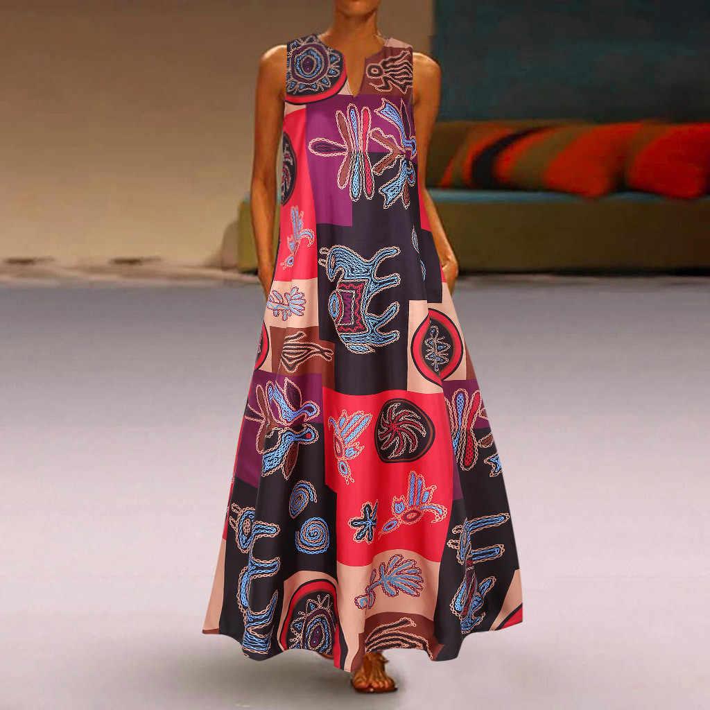 Kadın yaz elbisesi artı boyutu baskı günlük rahat kolsuz Vintage Bohemian V boyun Maxi elbise kadın moda Vestidos M40 #