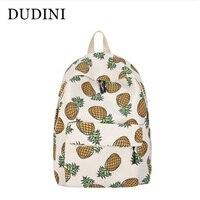 DUDINI Korean Printed Pineapple Cute Canvas Shoulder Bag Campus Students Leisure Travel Backpack For School Teen