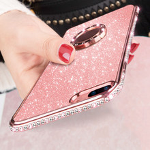 Glitter Diamond Magnetische Vinger Ring Kickstand Case Voor Samsung Galaxy S9 S8 Plus Note 9 8 Iphone Xs Max Xr 8 7 6S 6 Plus Cover(China)