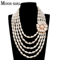 2016 fashion Pearl jewelry display flower statement necklace Multilayer Simulated Pearl necklace women accessories