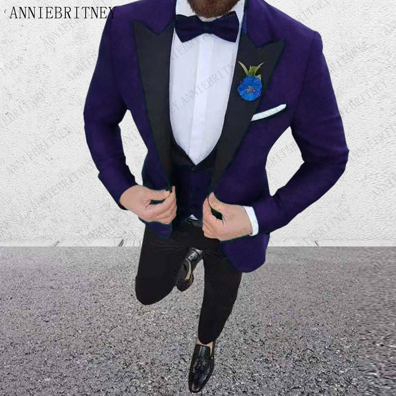 ANNIEBRITNEY Wedding Suits For Men 3 Pieces Mens Suits Slim Fit Groom Tuxedos Fashion Business Suits Set 2019 (Jacket+Pants+Vest