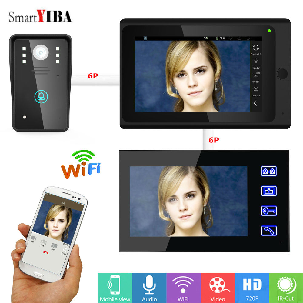 SmartYIBA WIFI Video Door Phone With 7inch Video Monitor 1000TVL Doorbell Intercom Kit Wired/Wireless IR Night Vision Doorphone