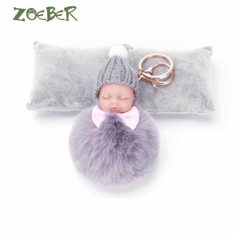 ZOEBER Dormir Baby Doll Chaveiro Bola de Pêlo de Coelho Pompom Chaveiro Car Chaveiro Mulheres Saco Chave Titular Acessórios Charme Pingente