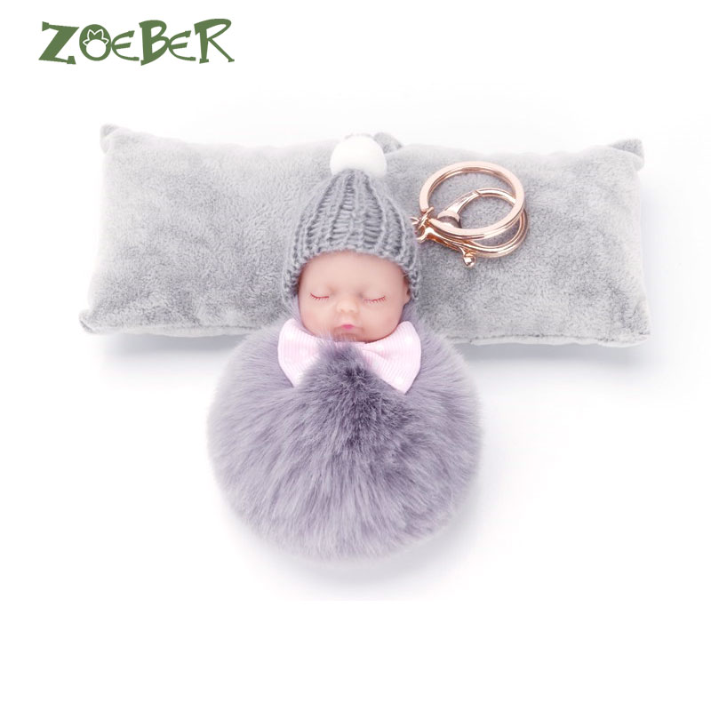 ZOEBER Sleeping Baby Doll Keychain Pompom Rabbit Fur Ball Key Chain Car Keyring Women Key Holder Bag Pendant Charm Accessories