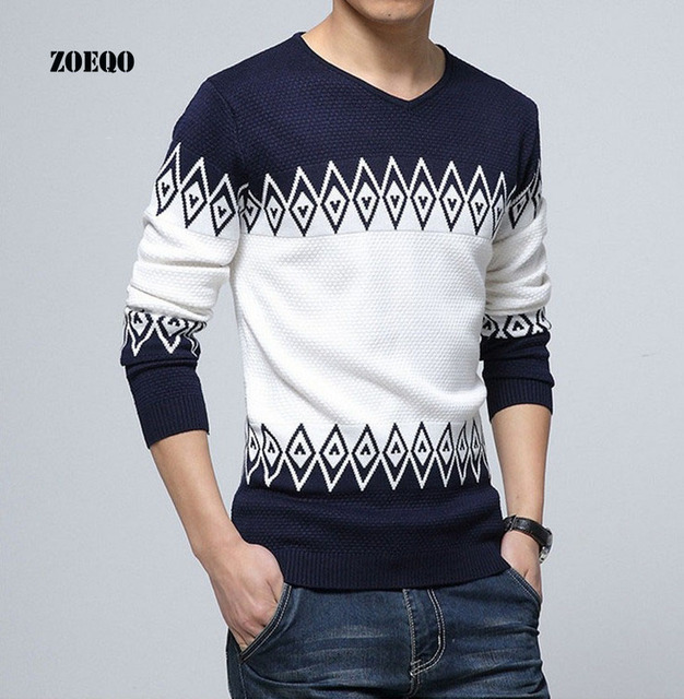 ZOEQO New Fashion Sweater men Pullovers Casual jumper For Man Knitting long sleeve v-Neck Knitwear Sweaters