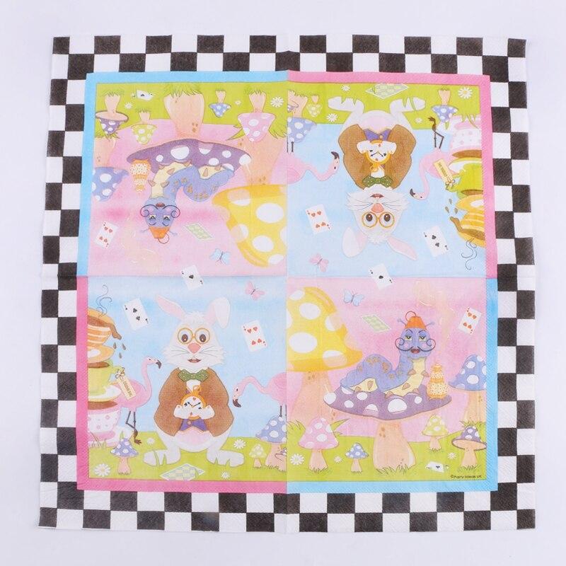 2019 Nieuwe Stijl Decoupage Bruiloft Servetten Papier Cartoon Dier Tissue Konijn Paddestoel Flamingo Slak Party Decor Servetten 20 Vintage Handdoek Kortingen Prijs