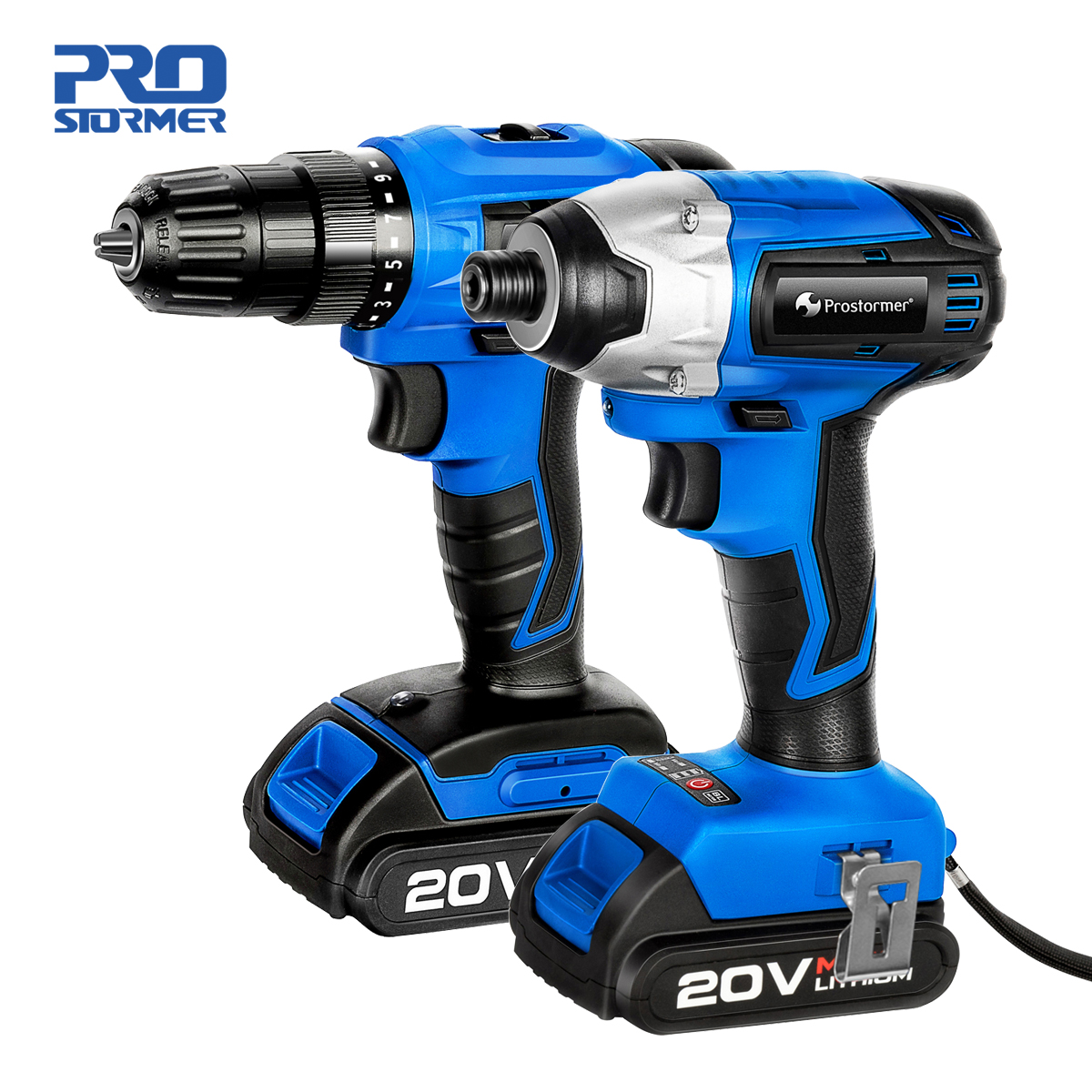 PROSTORMER 20V Cordless Impact Drill Screwdriver 2000mAh Wireless Rechargeable Screwdriver Optional Two-Piece Set