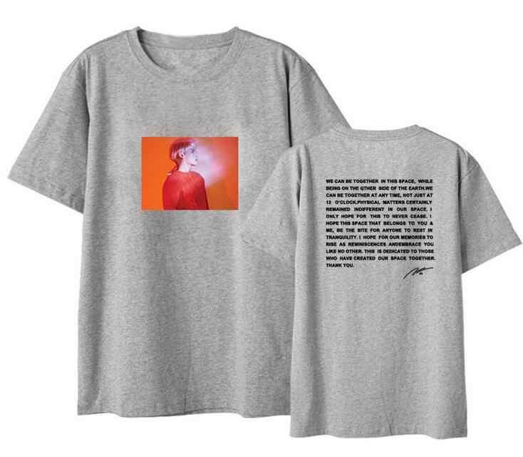 Unisex phong cách mùa hè shinee jonghyun poet nghệ sĩ bìa và thư in ấn o cổ t áo sơ mi kpop loose ngắn tay áo t áo sơ mi