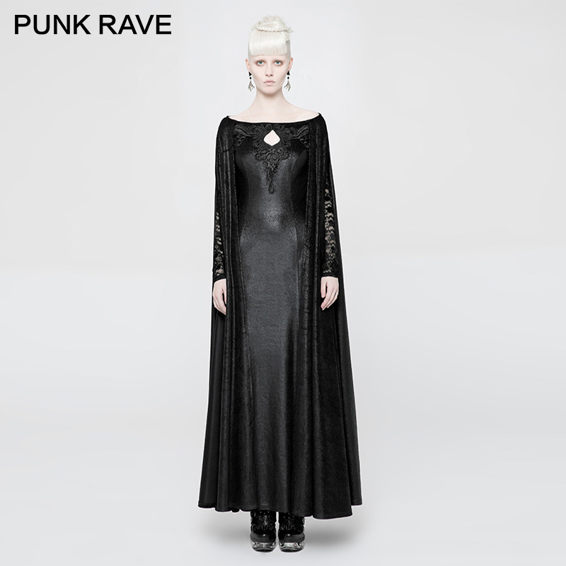 PUNK RAVE Gothic Women Dress Mysterious Queen Gown Lace Transparent Sleeves Hollowing Female Domineering Elastic Knitted Cape gown