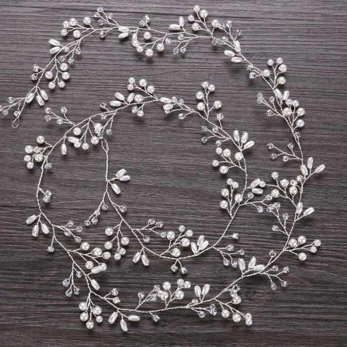 Lujo plata oro perla cristal nupcial diademas corona tocado - Bisutería - foto 2
