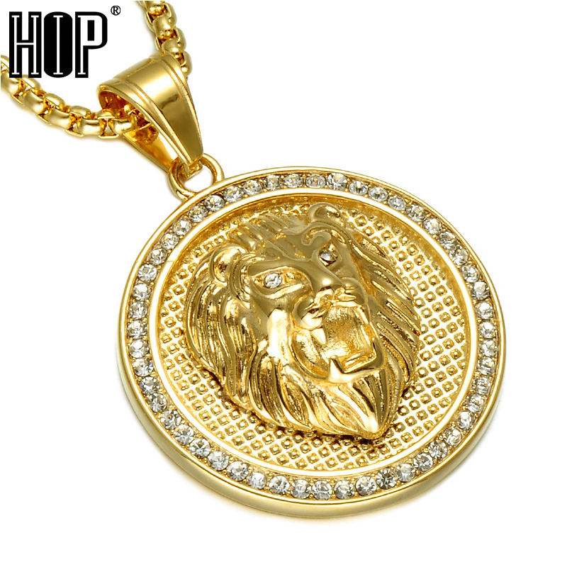 HIP Hop Ice Out Gold Color Titanium Stainless Steel Pave Rhinestone Lion Head Pendants Necklaces for Men JewelryHIP Hop Ice Out Gold Color Titanium Stainless Steel Pave Rhinestone Lion Head Pendants Necklaces for Men Jewelry