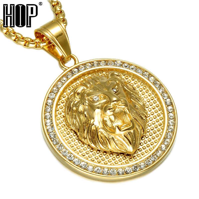 HIP Hop Ice Out złoty kolor tytanowa stal nierdzewna Pave Rhinestone głowa lwa wisiorki naszyjniki dla mężczyzn biżuteria