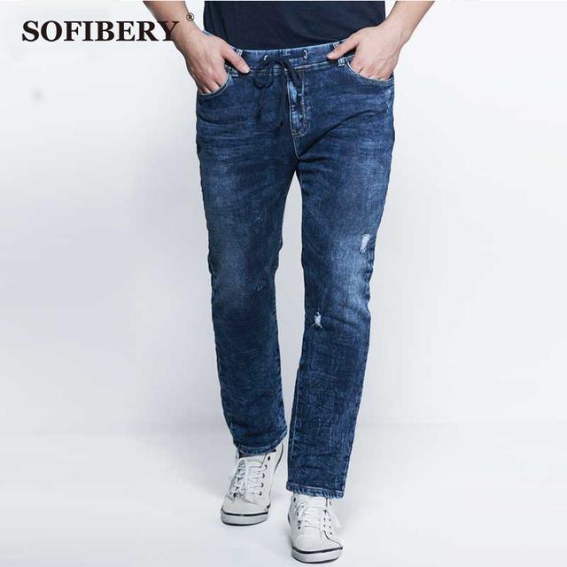 SOFIBERY vaqueros modernos de alta elástica vaqueros hombres de gran tamaño de los hombres pantalones vaqueros de cintura elástica de punto del copo de nieve jeans de moda agujero tamaño 36-52