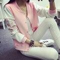 Womens autumn jacket single breasted cardigan cotton baseball uniform long-sleeve color block embroidery Bomber coat