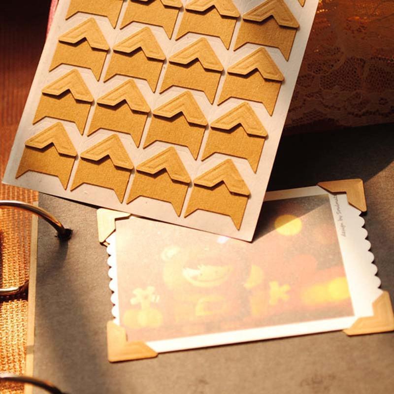 120pcs/lot (5 Sheets) Vintage Kraft Paper Corner Stickers For Scrapbooking Photo Albums Frame DIY Decoration, Gold/White/Black..