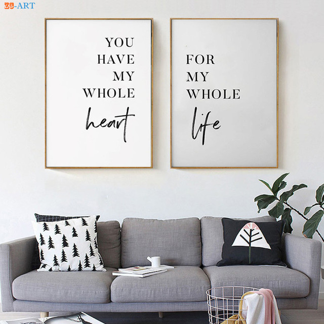 Couple Print Quotes Poster Canvas Painting Wall Art Wall Pictures