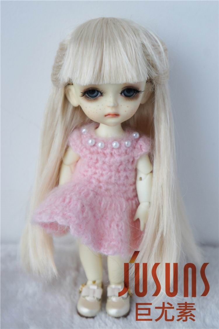 JD088 1/8 1/12 Doll wigs Long straight wig with full bangs Synthetic mohair 4-5 inch 5-6inch BJD doll accessories free shipping lori loli long straight yellow cute style full synthetic bangs cosplay party wig
