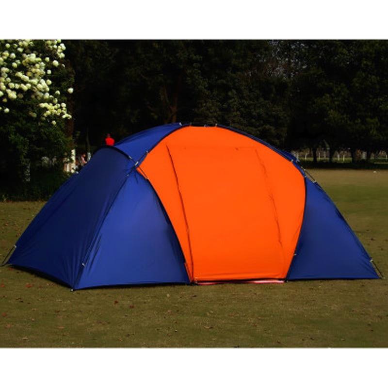 Большая походная палатка для 5 8 человек, водонепроницаемая двухслойная палатка для путешествий с двумя спальнями, семейные вечерние палатки для путешествий, рыбалки, 420x220x175 см - 5