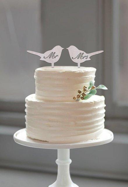 Rustic Cake Topper, Wood Cake Topper, Mr Mrs Love Bird Cake ...