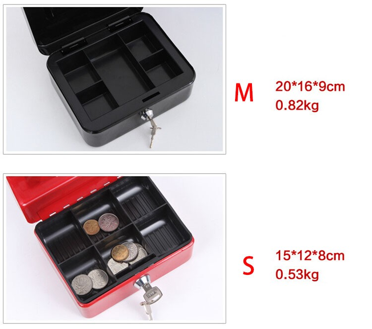 Mini Portable Security Safe Box Money Jewelry Storage Collection Box For Home School Office With Compartment Tray Lockable XS (15)