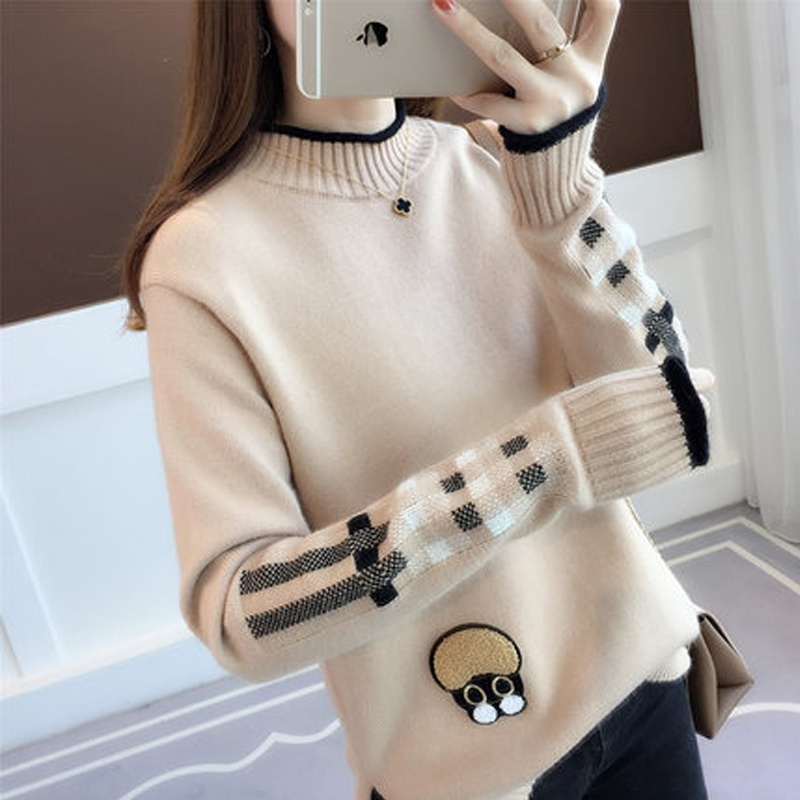 Fashion Christmas Sweater Female Autumn and Winter Round Neck Loose Thick Knitting Pullovers Sweater Jersey Women Plus Size in Pullovers from Women 39 s Clothing