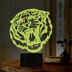 Tygrys otworzy usta 7 kolory zmieniające się lampki nocne do wystroju domu jako świetny prezent na boże narodzenie dla miłośników przyjaciel portu USB