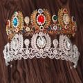 Nova Moda de Cristal Magnífico Casamento Coroa Tiaras De Noiva com Ramo de Oliveira para o vestido de Casamento Da Noiva Pageant cabelo Acessórios