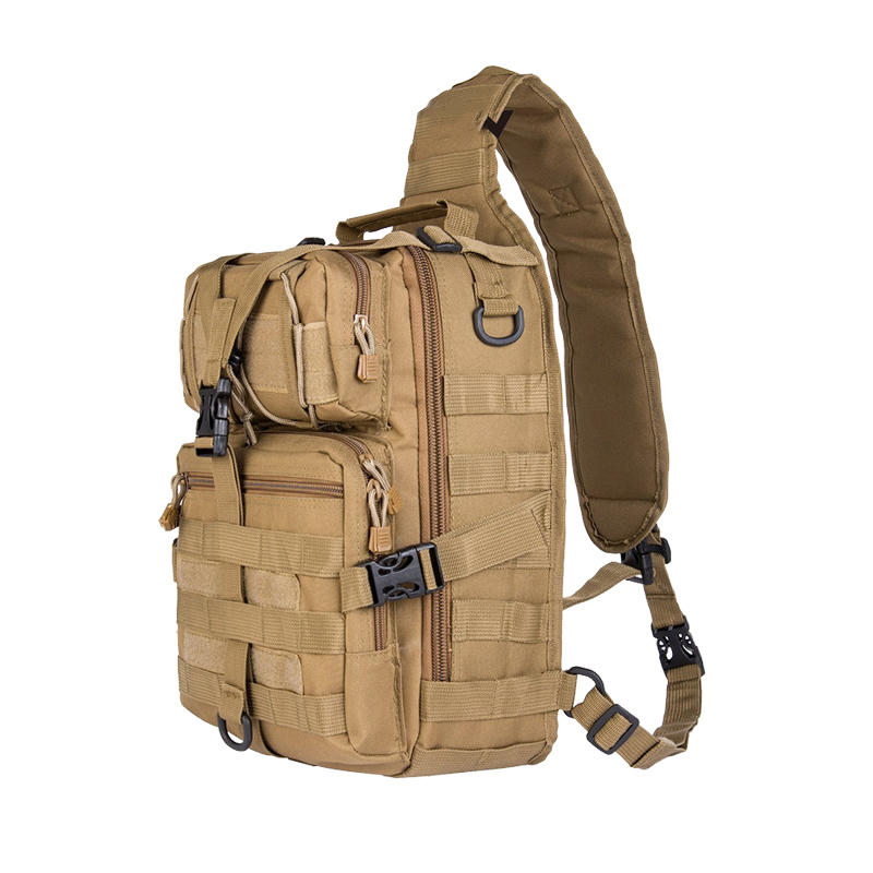 Military Backpack Tactical Molle Compact Versatile Travel Bag Hand Sport Saddle Shoulder Bag for Hunting Hiking Cycling Tan
