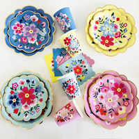 40PCS Tropical Flower Disposable Tableware Gilding Paper /Cup/ Marble Plates Table Decoration Wedding Birthday Party Supplies